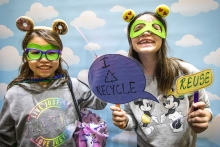 Gaby Yap-Gregory, 9, left, and her friend Gia Dobberbuhl, 8, dress up as Sustainability Super Heroes at the Downtown Phoenix campus' ASU Open Door, on Friday, Feb. 2, 2018