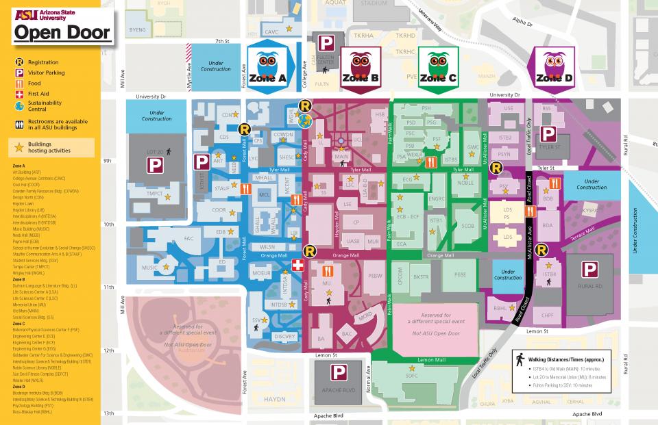 Tempe Map Parking ASU Open Door 2018