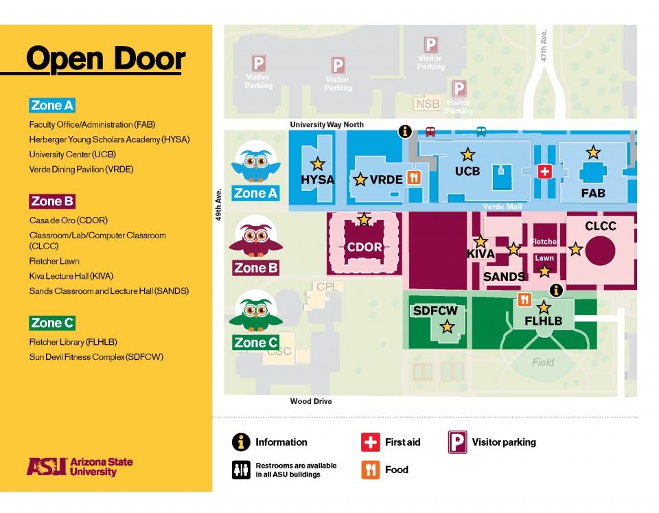 university of phoenix campus map Map Parking Asu Open Door 2020 university of phoenix campus map