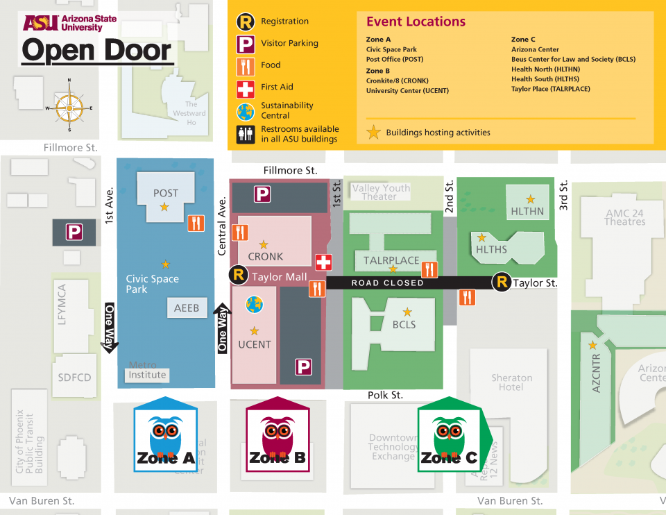 Asu Parking Map Downtown Phoenix Map / Parking | ASU Open Door 2019