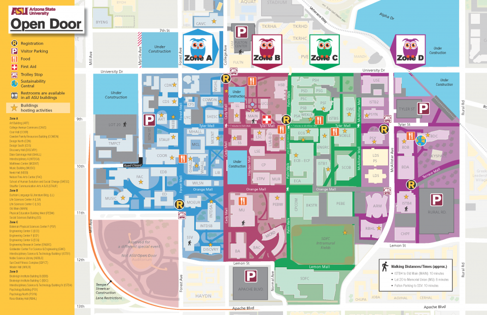 picture about University of Arizona Campus Map Printable named Map/Parking ASU Open up Doorway 2019