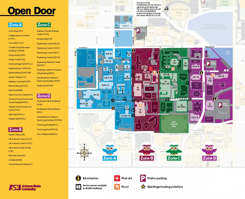 ASU Open Door @ Tempe 2020 map