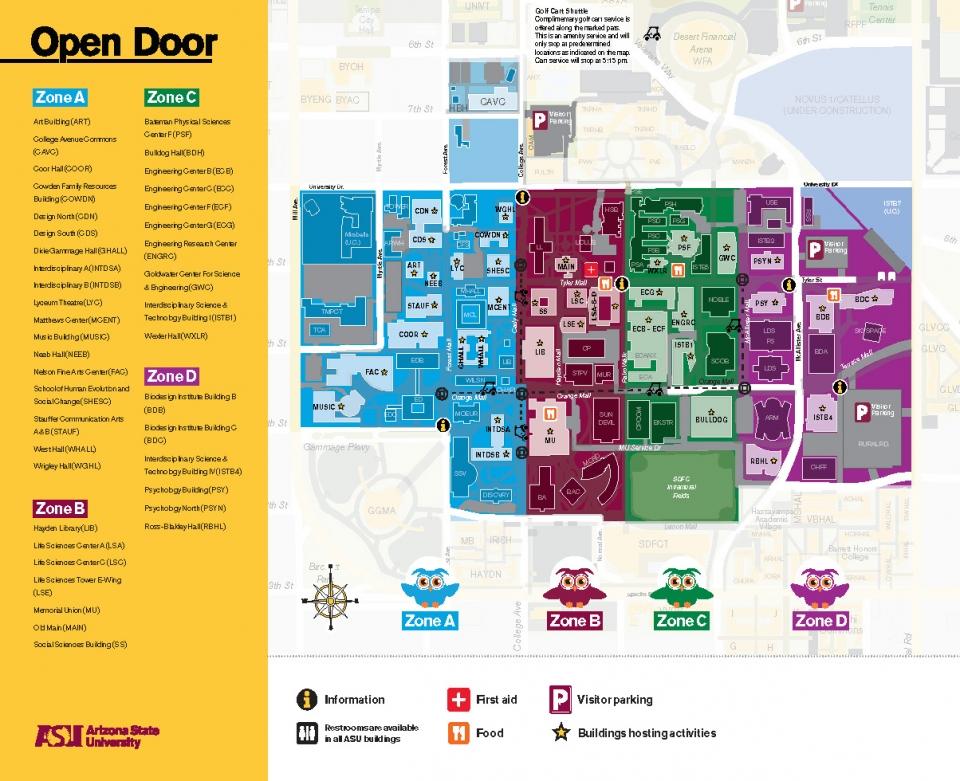 asu map tempe campus Map Parking Asu Open Door 2020 asu map tempe campus